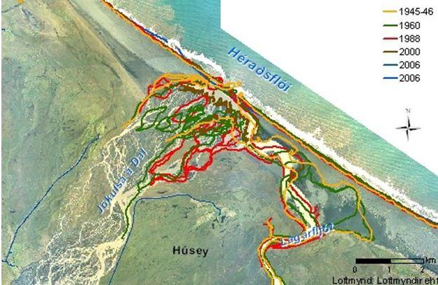 Mynd 4. Yfirlitsmynd breyting á strandlengju við Héraðsflóa